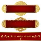 Sistema de la etiqueta roja con el ornamento afiligranado del oro Fotografía de archivo libre de regalías
