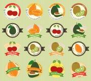 Sistema de la etiqueta superior de la calidad de la diversa fruta y verdura fresca libre illustration