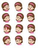 Sistema de la expresión de la cara de la niña, ejemplos del vector aislados Fotografía de archivo libre de regalías