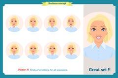 Sistema de la expresión de la mujer aislado Cabeza femenina emocional linda Empresaria stock de ilustración