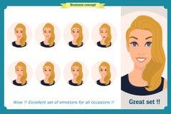 Sistema de la expresión de la mujer aislado en blanco Cabeza femenina emocional rubia linda vector a la muchacha de la cara, enoj ilustración del vector