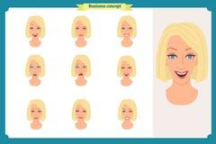 Sistema de la expresión de la mujer aislado en blanco Cabeza femenina emocional rubia linda vector a la muchacha de la cara, enoj libre illustration
