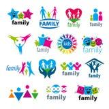 Sistema de la familia de los logotipos del vector stock de ilustración