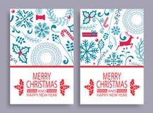 Sistema de la Feliz Navidad del ejemplo del vector de las cubiertas Imagenes de archivo