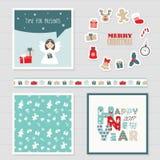 Sistema de la Feliz Navidad y de la Feliz Año Nuevo 2017 Fotografía de archivo libre de regalías