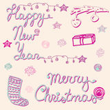 Sistema de la Feliz Navidad y de la Feliz Año Nuevo, tarjeta Imagen de archivo libre de regalías