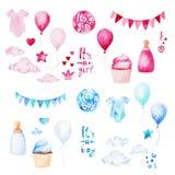 Sistema de la fiesta de bienvenida al bebé de la acuarela E Para el diseño, la impresión o el fondo Foto de archivo libre de regalías