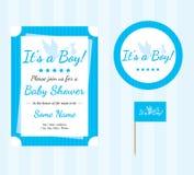 Sistema de la fiesta de bienvenida al bebé, fuentes de la fiesta de bienvenida al bebé, muchacho de la fiesta de bienvenida al be stock de ilustración