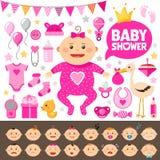 Sistema de la fiesta de bienvenida al bebé Chica fotografía de archivo libre de regalías