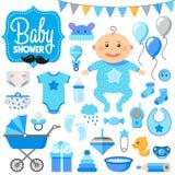 Sistema de la fiesta de bienvenida al bebé Muchacho Imagenes de archivo