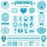 Sistema de la fiesta de bienvenida al bebé del muchacho de los elementos para el diseño Imagenes de archivo