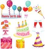 Sistema de la fiesta de cumpleaños Foto de archivo libre de regalías