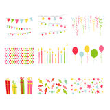 Sistema de la fiesta de cumpleaños de los elementos del diseño del libro de recuerdos Fotografía de archivo