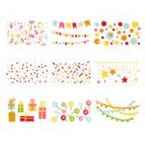 Sistema de la fiesta de cumpleaños de los elementos del diseño del libro de recuerdos Imagen de archivo libre de regalías