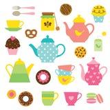 Sistema de la fiesta del té Fotografía de archivo libre de regalías