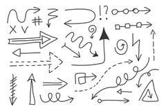 Sistema de la flecha del garabato del vector Símbolos aislados, elementos del diseño Imagen de archivo