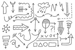 Sistema de la flecha del garabato del vector Símbolos aislados, elementos del diseño Imagen de archivo libre de regalías