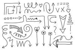 Sistema de la flecha del garabato del vector Símbolos aislados, elementos del diseño Foto de archivo libre de regalías