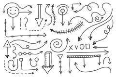 Sistema de la flecha del garabato del vector Símbolos aislados, elementos del diseño Imágenes de archivo libres de regalías