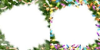 Sistema de la frontera de la Navidad EPS 10 Imágenes de archivo libres de regalías