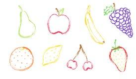 Sistema de la fruta de la tiza ilustración del vector