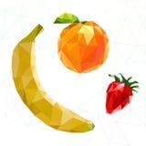 Sistema de la fruta de polígonos Plátano, naranja, fresa Vector Fotografía de archivo libre de regalías
