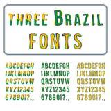 Sistema de la fuente del estilo del Brasil Alfabeto dibujado mano con los dígitos Vector Imágenes de archivo libres de regalías