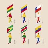 Sistema de la gente 3d con las banderas de los países de Suramérica stock de ilustración