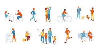 Sistema de la gente del parque, tiempo del gasto de la gente al aire libre ilustración del vector