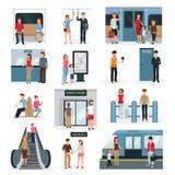 Sistema de la gente del subterráneo stock de ilustración