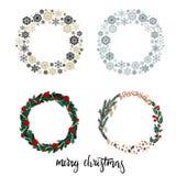 Sistema de la guirnalda de la Navidad con Feliz Navidad de la inscripción de las letras de la mano Fotografía de archivo libre de regalías