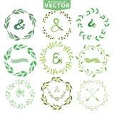 Sistema de la guirnalda de los laureles de la acuarela Marco floral de la vendimia Foto de archivo