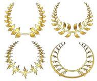 Sistema de la guirnalda del laurel del oro en el fondo blanco Fotografía de archivo