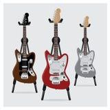 Sistema de la guitarra eléctrica del ejemplo del vector con el soporte Foto de archivo