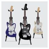 Sistema de la guitarra eléctrica del ejemplo del vector con el soporte Imagenes de archivo