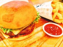 Sistema de la hamburguesa Imágenes de archivo libres de regalías