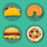 Sistema de la hamburguesa del cruasán de la pizza de los alimentos de preparación rápida de los iconos Fotografía de archivo libre de regalías