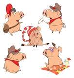 Sistema de la historieta alegre de los cerdos ilustración del vector