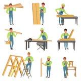 Sistema de la historieta de caracteres del carpintero en el trabajo Gente con las herramientas para aserrar y la carpintería Homb stock de ilustración