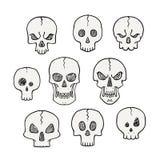 Sistema de la historieta de cráneos Colección asustadiza y de Halloween Fotos de archivo