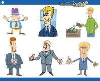 Sistema de la historieta de hombres de negocios Imágenes de archivo libres de regalías