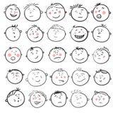 Sistema de la historieta de la cara del hombre Fotos de archivo libres de regalías