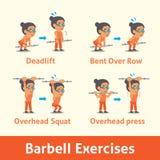 Sistema de la historieta de la mujer mayor que hace el paso del ejercicio del barbell para la salud Imagen de archivo