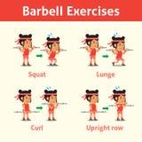 Sistema de la historieta de la mujer que hace el paso del ejercicio del barbell para la salud y la aptitud Foto de archivo