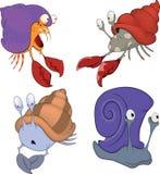 Sistema de la historieta de los cangrejos y de los caracoles del mar stock de ilustración