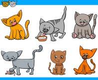 Sistema de la historieta de los caracteres de los gatos Foto de archivo