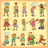 Sistema de la historieta de los Emoticons Fotos de archivo libres de regalías