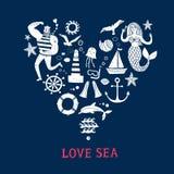 Sistema de la historieta de los iconos del mar Imagenes de archivo