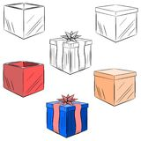 Sistema de la historieta de regalos. eps10 Foto de archivo