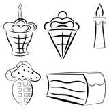 Sistema de la historieta de tortas. eps10 Foto de archivo